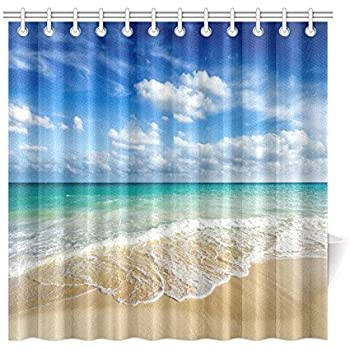 ambesonne ocean shower curtain decor by tropical palm trees on an island beach. Black Bedroom Furniture Sets. Home Design Ideas