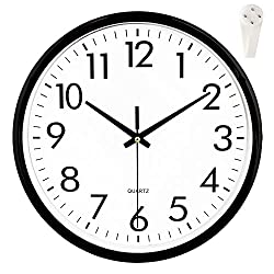 "OCEST Wall Clock, 10"" Silent Outdoor Clock Non Ticking Large Display Battery Operated Decorative Quartz Clocks for Kitchen Office Patio Pool Bathroom Living Room"