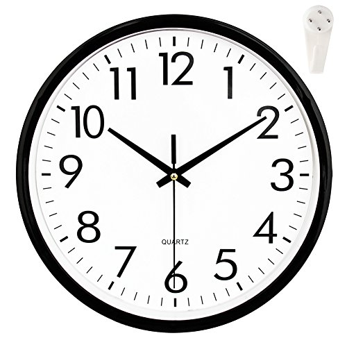 "OCEST Wall Clock, 10"" Silent Outdoor Clock Non Ticking Large Display Battery Operated Decorative Quartz Clocks for Kitchen Office Patio Pool Bathroom Living ()"