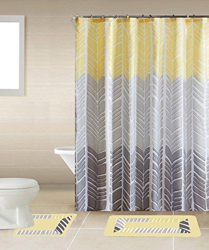 Sonia Yellow & Gray Multi-Tone 15-Piece Bathroom Accessory Set: 2 Bath Mats, Shower Curtain & 12 Fabric Covered (Gray Yellow Shower Curtain)
