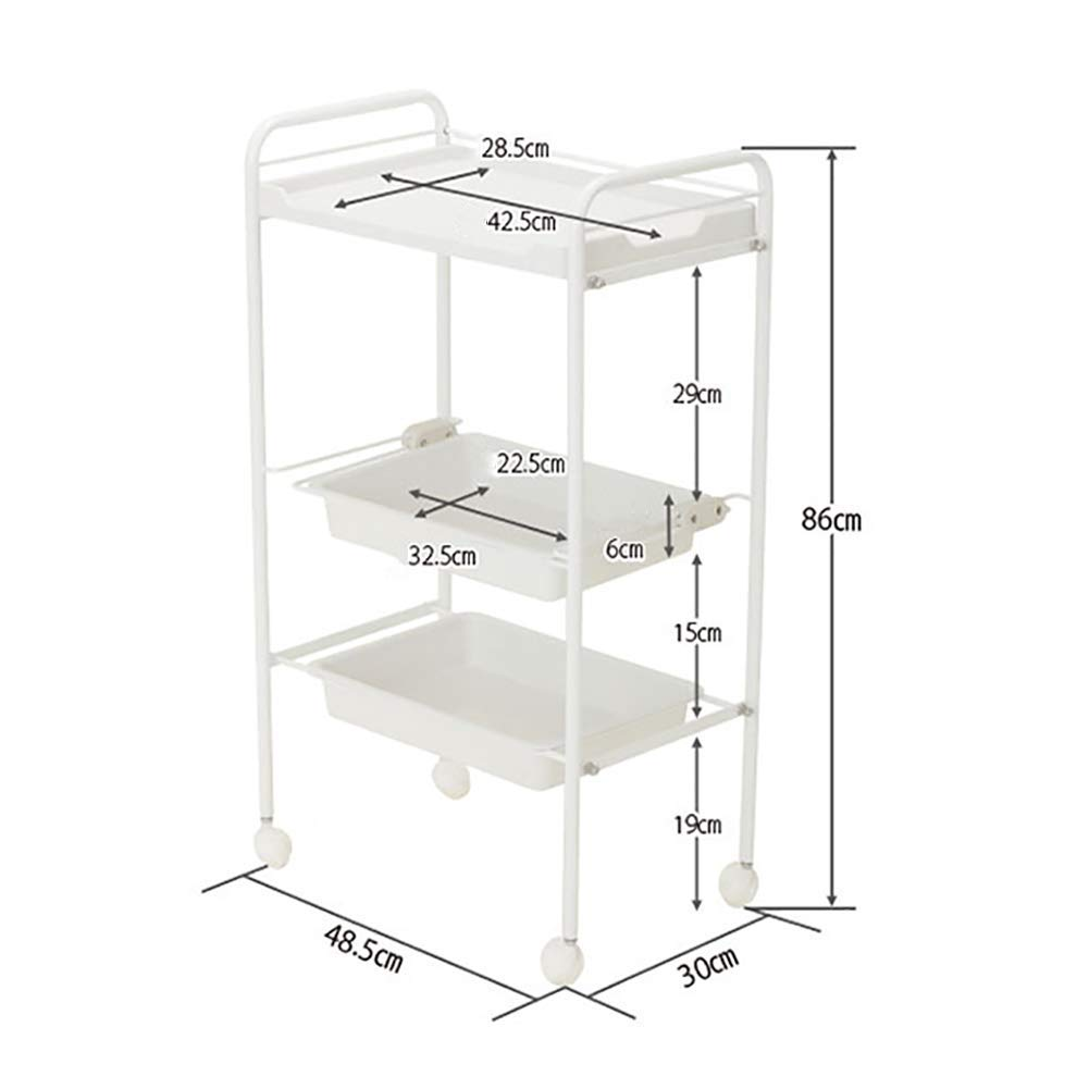 PLLP Hospital Trolley, Medical Supplies Rack-Medical Cart Tool 5 Tier Abs Beauty Salon Cart with Drawer, Mobile Medical Cart, White Spa Rolling Trolley for Stylist Hairdresser, 48.5  30  86Cm