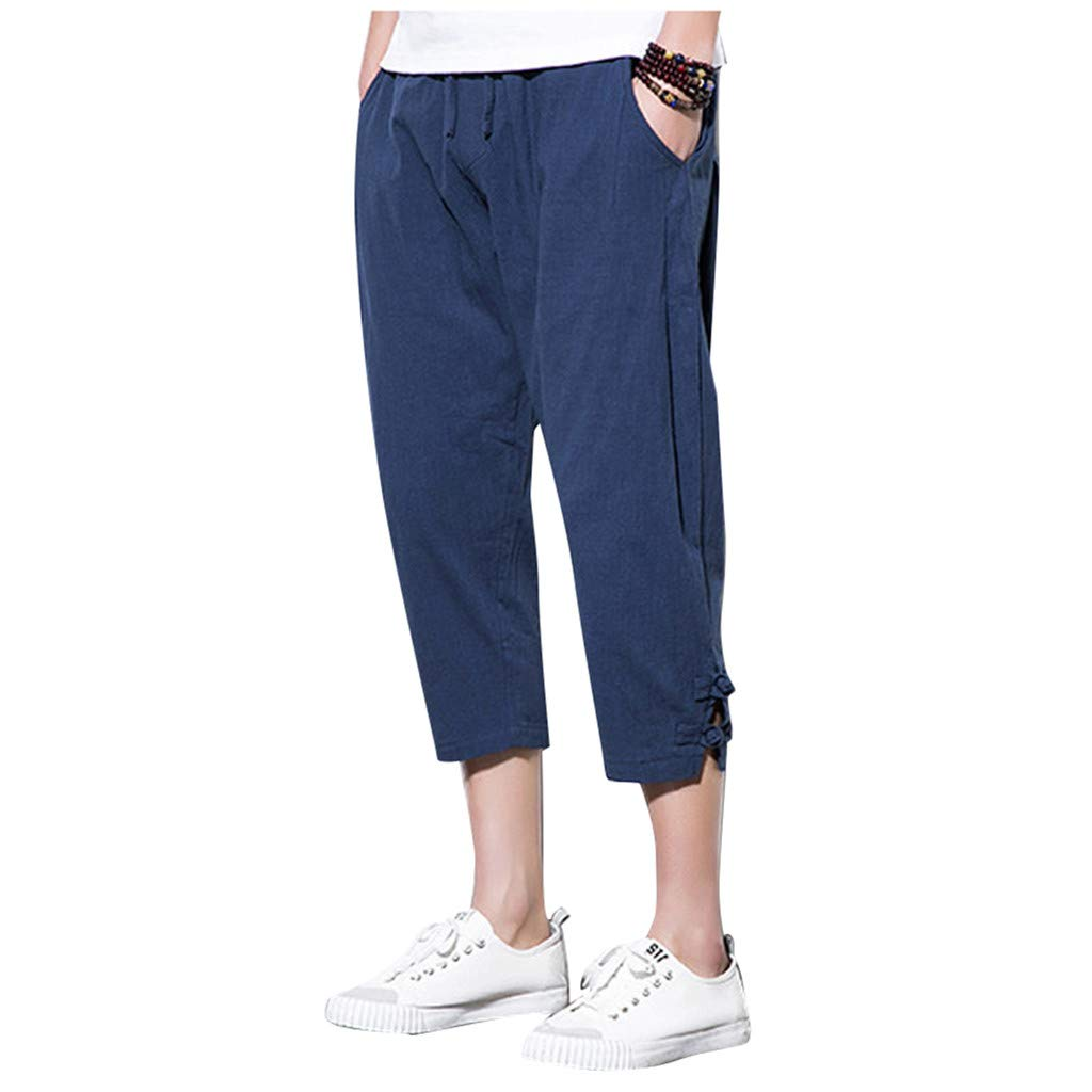 Fitfulvan Men's Large Size Linen Cropped Trousers Harlan Trousers Buckle Carrot Pants Casual Jogger Beach Pants Navy by FitfulVan Pants/Leggings