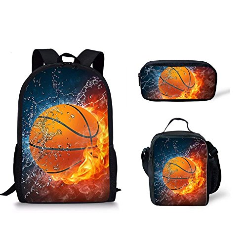 499300ba9d Galleon - Instantarts Basketball School Backpack For Kid Set 3 Pieces  Bookbag And Lunch Kit Pencil Bag For Teen