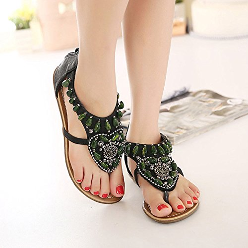 De Sandalias Playa Slingback De De Negro Mujer Zapatos Zapatos Planos Bohemia Las Sandalias HdqPdxrIw