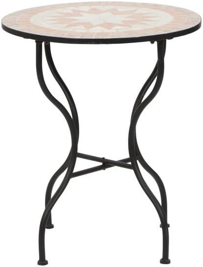 SIENA GARDEN Tisch Finca Ø70cm Gestell schwarz//Mosaik-Optik