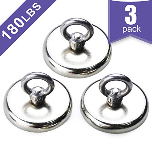 3 Pack of Super Strong Neodymium Fishing Magnets, 180 LBS(82 KG) Pulling Force Rare Earth Magnet with Countersunk Hole Eyebolt Diameter 1.89 INCH(48 mm) for Retrieving in River and Magnetic Fishing