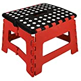 One Step Folding Plastic Stool | Portable Fold Up Footstool for Kitchen, Bathroom, Toilet, Caravan | for Children, Kids, Adult | Collapsible, Non Slip - Medium - Red