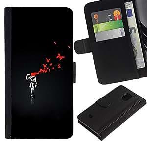 All Phone Most Case / Oferta Especial Cáscara Funda de cuero Monedero Cubierta de proteccion Caso / Wallet Case for Samsung Galaxy S5 Mini, SM-G800 // Funny Street Art Graffiti Bnksy