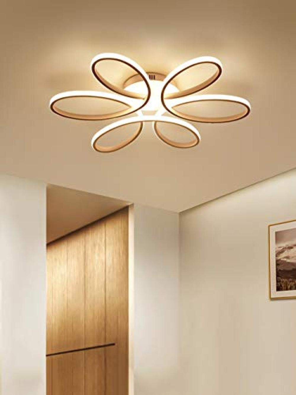 Zqq87 Moderni Lampadari Plafoniera Led Soffitto 85w Creativo Forma Di Fiore Lampada Da Acrilico Paralume In