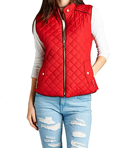 Hollywood Star Fashion Womens Quilted Vest Jacket Coat (Small Red)