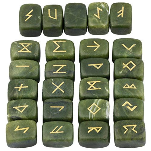 mookaitedecor Rune Stones Set with Engraved Elder Futhark Alphabet Crystal Meditation Divination,Green Jade