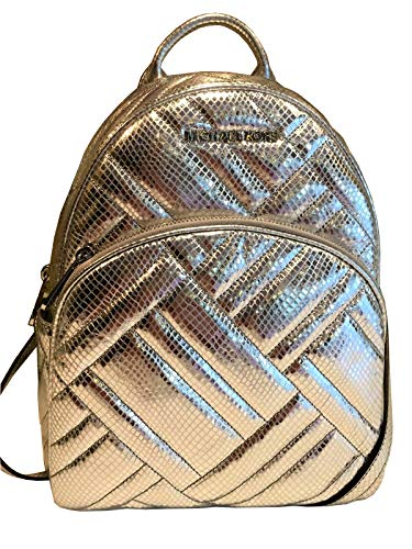 Michael Kors Abbey Signature PVC Leather Medium Backpack Purse (Silver Quilted)