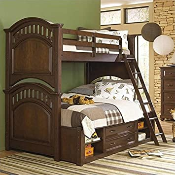 samuel lawrence furniture expedition bunk bed in cherry twin over twin