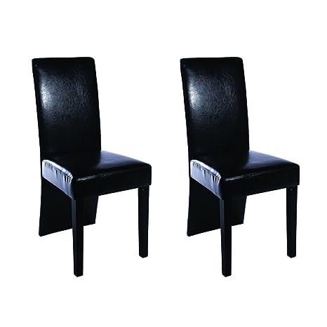 Sedie In Pelle Per Sala Da Pranzo.Vidaxl 2x Sedie Da Pranzo Pelle Nera Ergonomiche Moderne Seggiole Cucina Sala