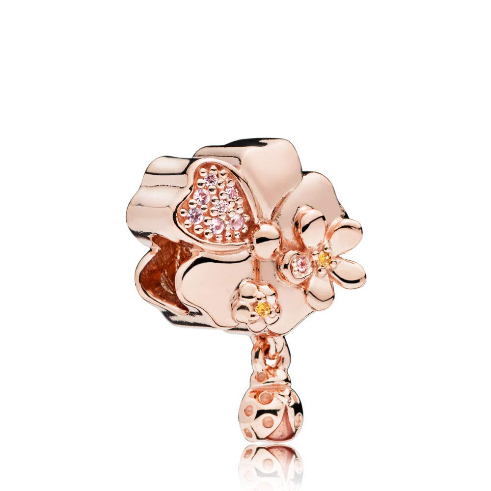 PANDORA Wildflower Meadow Rose Gold Charm, Pink Enamel, Crystals And Multi-Colored Cz, 787026NPR