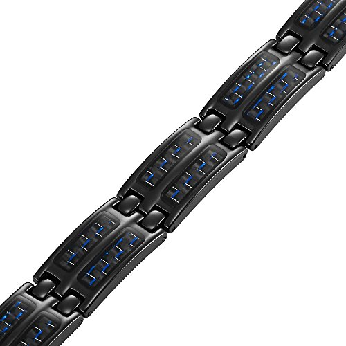 Willis Judd Alliance en titane pour homme Noir/Bleu-Bracelet magnétique en fibre de carbone pour homme avec outil pour retirer des maillons