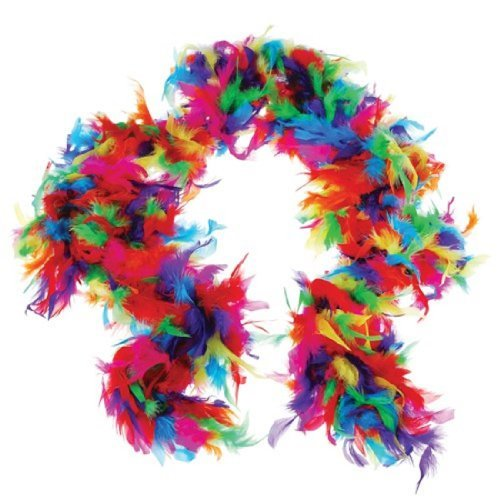 US Toy One Rainbow Feather Boa Costume, 6' x 60gm, Multicolor -
