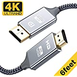 Capshi DisplayPort to HDMI Cable - 6 Ft 4K UHD Nylon Braided Gold-Plated DP-to-HDMI Unidirectional Cord DP to HDMI Male Chords Display Port to HDTV Monitor Video CableDP Ports to HDMI Ports Connector