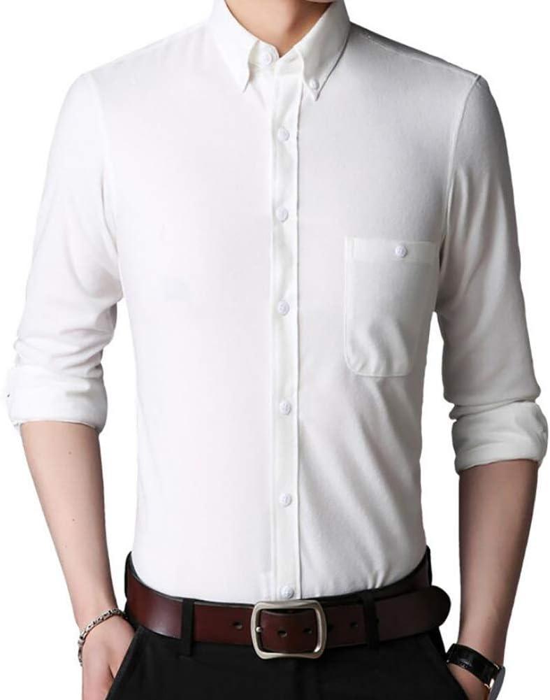 Camisa de Pana de los Hombres, Otoño Invierno Casual Manga Larga térmica Más Camisa de Terciopelo Engrosamiento Un Solo Pecho Lana sólida Camisas Calientes Hombre (Color : Blanco, tamaño : 3XL): Amazon.es: