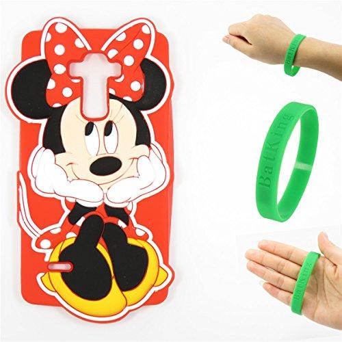 G3 S Case G3 Mini Case LG G3 Vigor Silicone Case,Bat King 3D Cute Cartoon Mouse Minnie Soft Silicon Gel Rubber Case Cover Skin for LG G3 Mini/G3 Mini/G3 Beat/G3s D725 D722(Smile Minnie B)