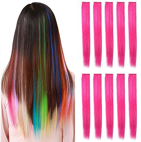 OPT. 10 PIECES 22 Inch Straight Colored Party Highlight Clip on in Hair Extensions Multiple Colors. From New York. (Hot Pink) ()