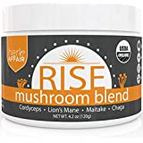 RISE Mushroom Powder, Organic | Lions Mane, Cordyceps, Maitake & Chaga Mushrooms - Mix In Your Coffee, Tea or Smoothie - Powerful Immune System Booster, Brain Support & Energy Supplement - 45 Servings