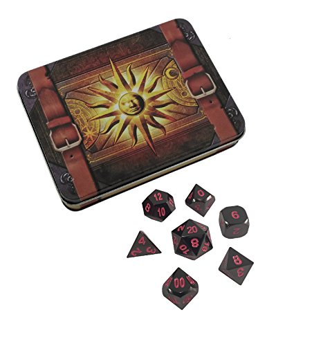 Skull Splitter Dice - Cleric's Prayer Book Umbral Fae | Shiny Black Nickel Finish with Pink Numbering Metal Dice - Solid Metal Polyhedral Role Playing Game (RPG) Dice Set (7 - Black C Shiny