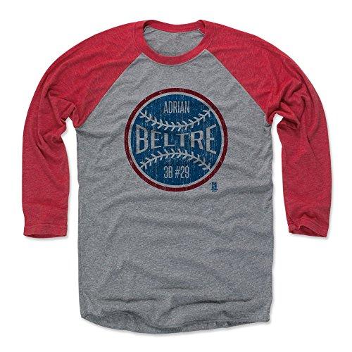 500 LEVEL Adrian Beltre Baseball Tee Shirt X-Large Red/Heather Gray - Texas Baseball 3/4th Sleeve - Adrian Beltre Ball B