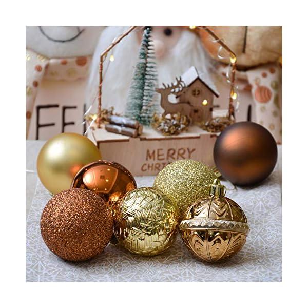 Valery Madelyn Palle di Natale 50 Pezzi 6 cm Palline di Natale, Rame Essenziale e Oro, Ornamenti di Palla di Natale Infrangibili di Base per la Decorazione Dell'Albero di Natale 5 spesavip