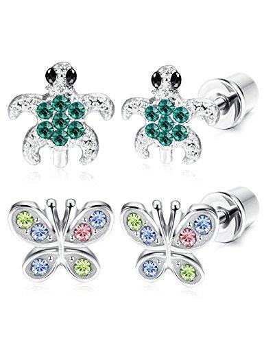 Baby Turtle Earrings - ORAZIO 2 Pairs Stainless Steel Turtle Earrings for Girls Women Butterfly Stud Earrings Screwback Silver Tone (A:Tortoise and Color Butterfly)