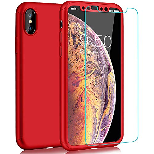 COOLQO Compatible for iPhone Xs Max Case 6.5 inch, Full Body Coverage Protection 2in1 Ultra-Thin Matte Finish Coating Acrylic Hard Slim Protective Cover with [Tempered Glass Screen Protector] - Red