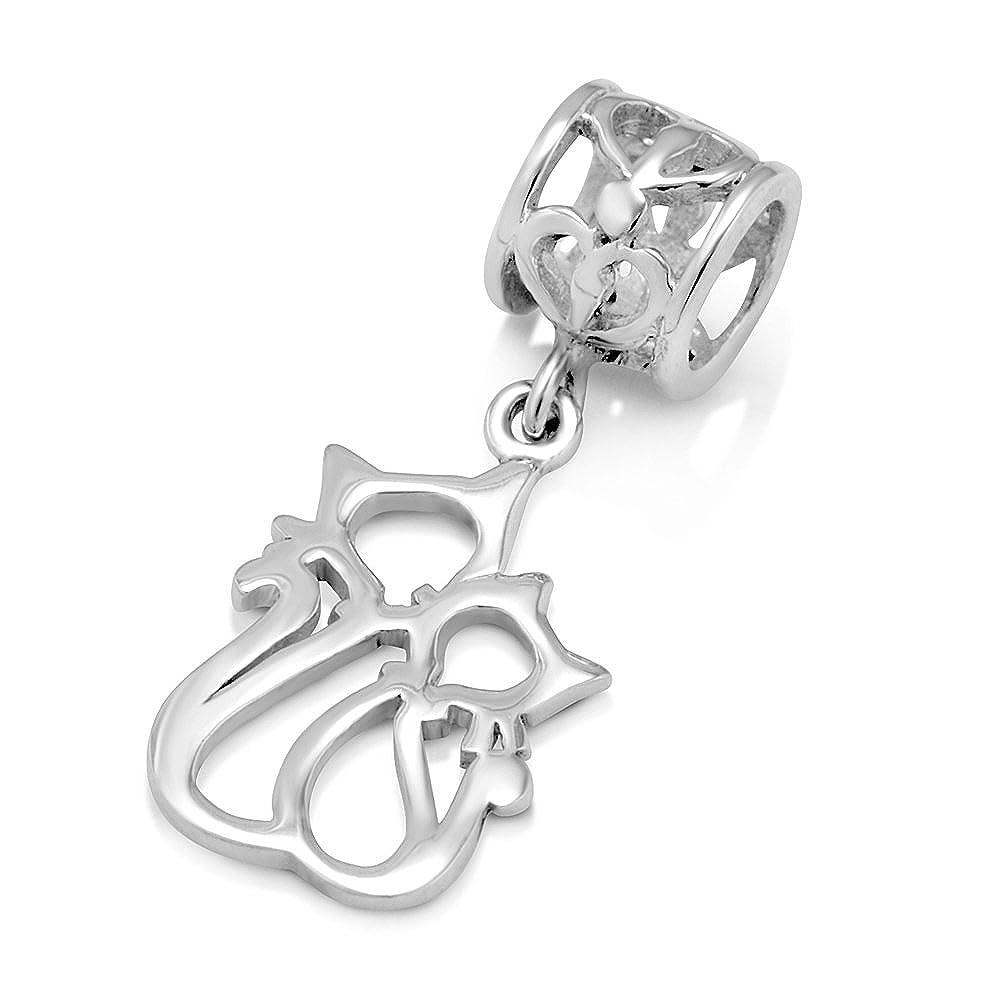 ba8ee131e Amazon.com: 925 Sterling Silver Couple Cat Dangle Bead Charm Fit Major  Brand Bracelet: Jewelry
