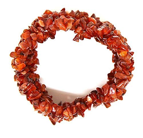 Carnelian Stretch Bracelet Stone Chip Bracelets Multi Strand | Natural Gemstone Bracelet | Stretch Chip Bracelet | Large Cuff Bracelet Size- 4-7mm by Gemswholesale