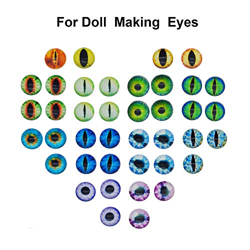 Halloween Contact Lenses Prescription-only (100PCS/Pack 15MM Assorted Round Glass Animal Eye Flatback Cabochons for Polymer Clay Doll Craft Making 25mm Cat Eye Evil Eye)