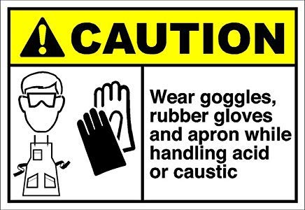 (Wear Goggles Rubber Gloves Apron Handling Acid Caustic Caution OSHA/ANSI Sign Stickers Decal Lable Vinyl Warning Stickers Funny Safety Notice Sign Lable Self Adhesive 8