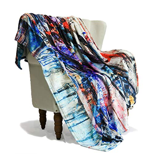 SimbaDeco Sherpa Fleece Throw Blanket for Boy Abstract Artistic Colorful Scrawl Graffiti Wood Painting Blankets for Living Room Soft Cozy Fluffy Flannel Sofa Bedding Travel Blankets 50x70 Inch Ivory (Guide Sherpa)