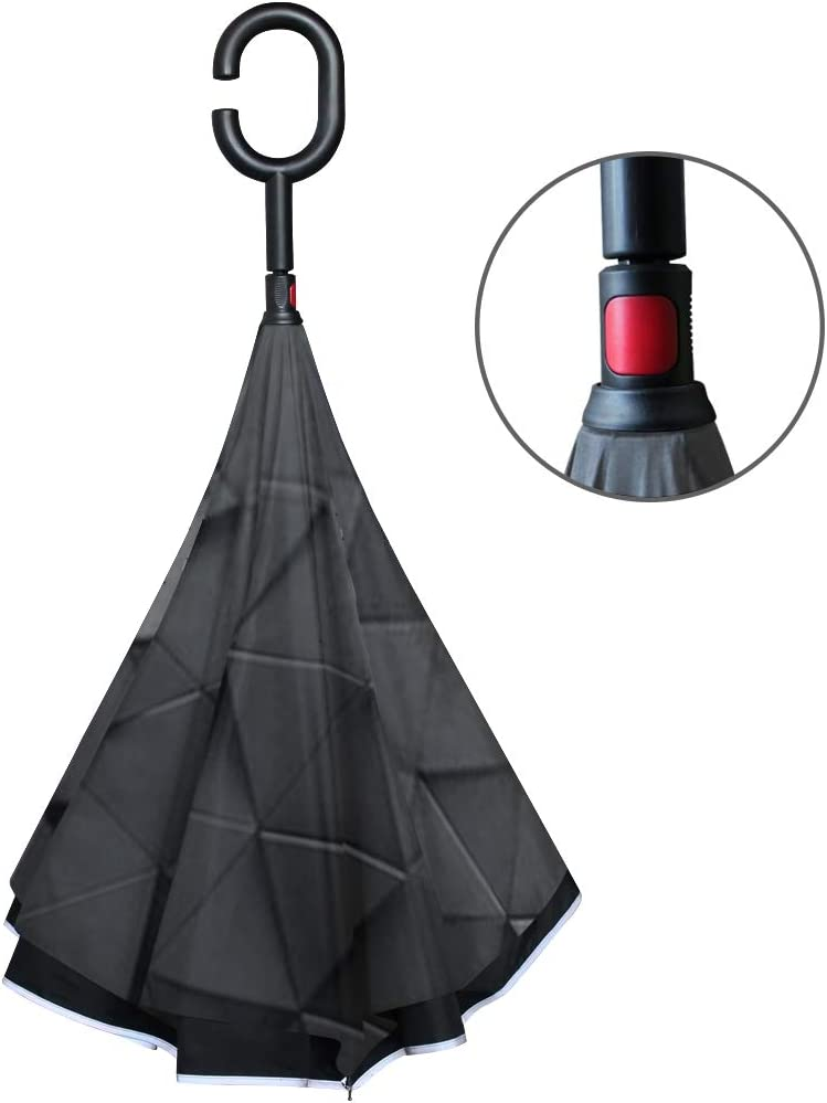 Double Layer Inverted Inverted Umbrella Is Light And Sturdy Black Triangular Abstract Background Grunge Surface Reverse Umbrella And Windproof Umbrel