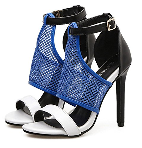 Hauts Escarpins Boucle Talons Ouvert Sexy Réseau Pour Mariage Été Yogly Sandale À Bleu Femme Bout Chaussures Soiree 7PwqExR
