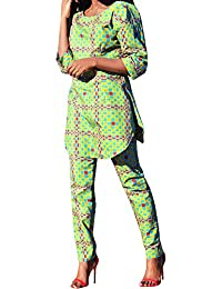 Womens African Print Pocket 2 Pieces Outfit Crop Top Pants Suits