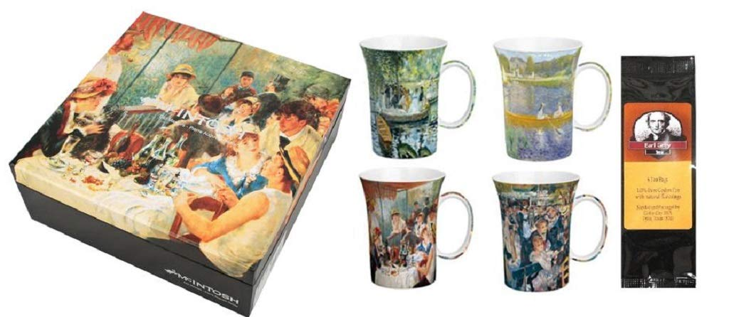 4 Renoir Classics Coffee or Tea Mugs in a Matching Gift Box and 6 Tea Bags, Bundle 2 Items