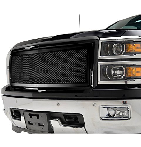 2014-2015 Chevy Silverado 1500 Matte Black Mesh Grille with Gloss Black Complete Factory Replacement Grille Shell