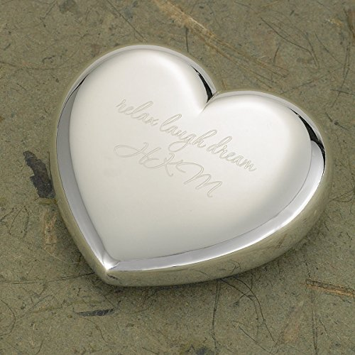 Engraved Silver Plated Heart Paper Weight - Engraved Heart - Personalized Paper Weight - Monogrammed Paper (Personalized Paper Weight)