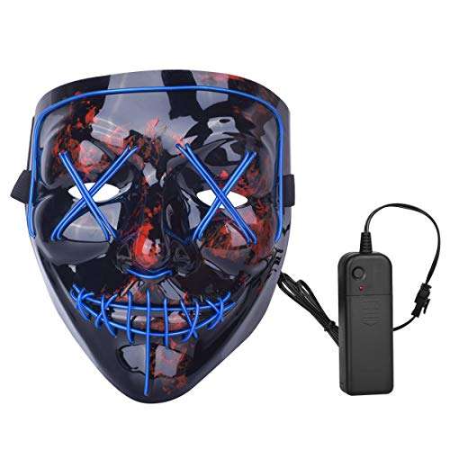 ZOY Scary LED Mask Halloween Costume Light up Mask Cosplay EL Wire Mask Glowing mask (Blue)