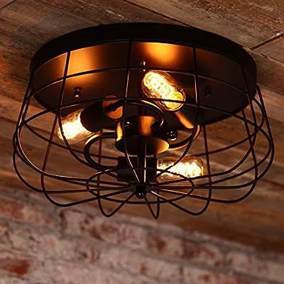 Lovedima Industrial Loft Metal Cage Three Exposed Bulbs Semi Flush Mount Ceiling Light in Black Finish