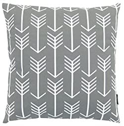 JinStyles Arrow Cotton Canvas Decorative Throw Pillow Cover (Slate Gray and White, 18 x 18 inches)