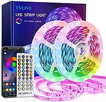 TVLIVE Ruban LED 20M Bande LED RGB avec Télécommande à 40 Touches, Synchroniser avec Rythme de Musique, Contrôlé par APP...