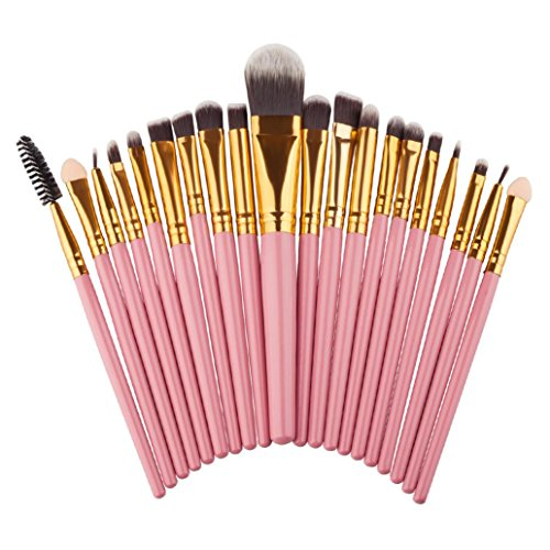 Price comparison product image 20pcs Mini Cosmetic Eyeshadow Makeup Brush Sets Kits Tools (Pink)