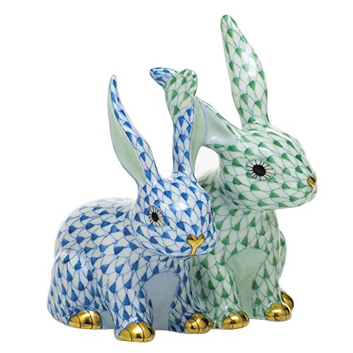 Herend Twisted Bunnies Porcelain Figurine Green and Blue Fishnet