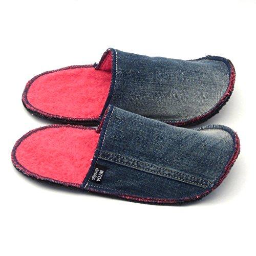 Handmade Denim Slip-on Slippers of Recycled jeans