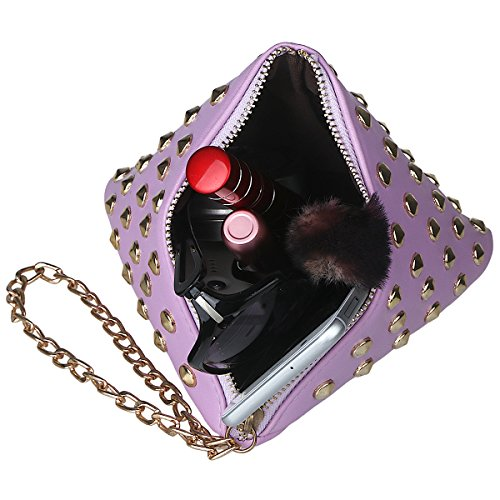 xhorizon TM SR Women PU Leather Rivet Studded Triangle Purse Wristlet Clutch Wallet Handbag by xhorizon (Image #2)